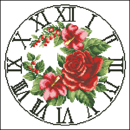 Вышивка часы с розой